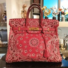Jay Ahr Collection Red Bandana x The Vintage Iconic Hermes Birkin Bag