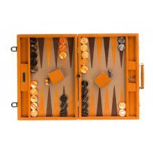 Hector Saxe Come Backgammon Cuir Chevron Competition Orange