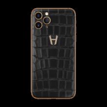 Apple iPhone Signature Alligator Gold Diamonds by Hadoro - Black