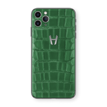 Apple iPhone Signature Alligator Stainless Steel by Hadoro - Green