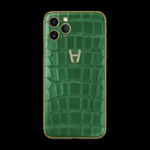 Apple iPhone Signature Alligator Gold Diamonds by Hadoro - Green