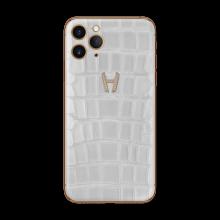 Apple iPhone Signature Alligator Gold Diamonds by Hadoro - White