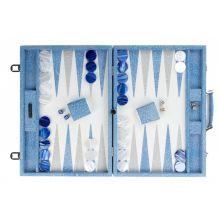 Hector Saxe Gabin Backgammon Cuir Façon Galuchat Competition Bleu