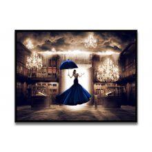 Tableau La Femme en Bleu Face à la Porte du Digital de Ludovic Baron - Limité à 8 exemplaires