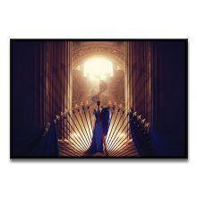 Tableau La Femme en Bleu Face à l'Escalier du Bonheur de Ludovic Baron - Limité à 8 exemplaires