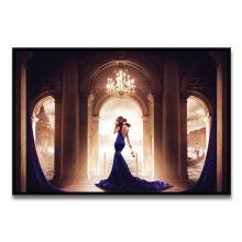 Tableau La Femme en Bleu sur le Pas d'une Romance de Ludovic Baron - Limité à 8 exemplaires
