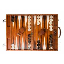 Hector Saxe Louis Backgammon cuir patiné compétition Cognac