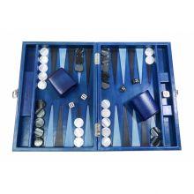 Hector Saxe Louis Backgammon Cuir Patiné Medium Bleu Roi