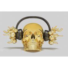 Skull Headphone Gold by Anna Kara