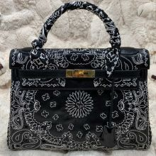 Jay Ahr Embroided Collection x The Vintage Iconic Hermes Black Kelly Bag